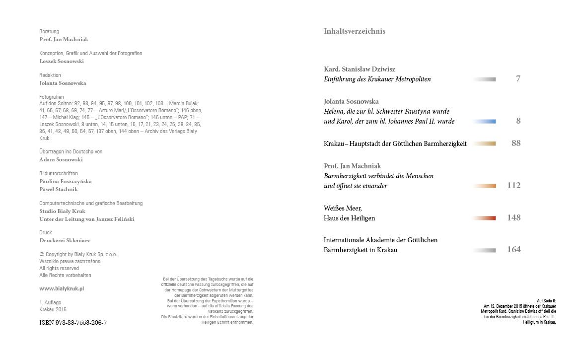 Apostołowie Bożego Miłosierdzia wersja niemiecka - Spis treści