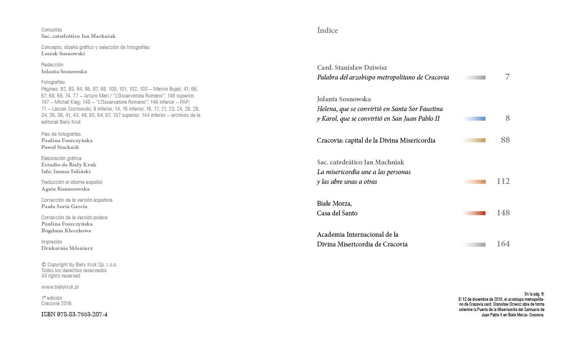 Apostołowie Bożego Miłosierdzia wersja hiszpańska - Spis treści