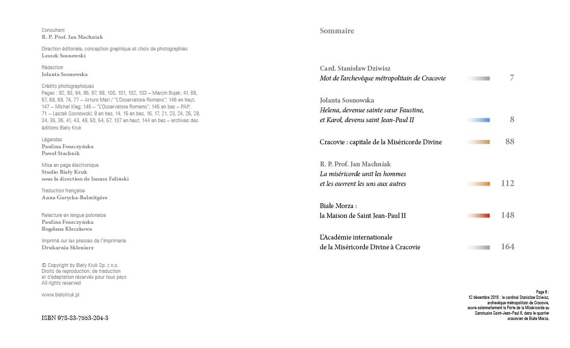 Apostołowie Bożego Miłosierdzia wersja francuska - Spis treści