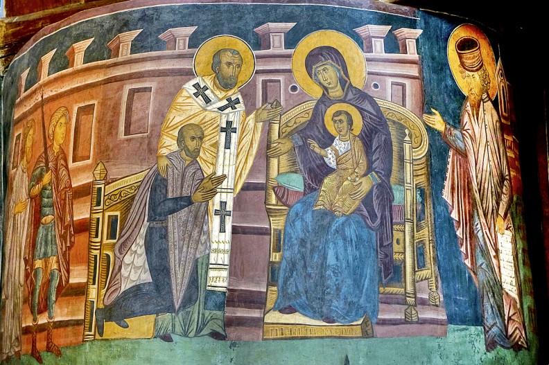 XV-wieczny fresk przedstawiający Władysława Jagiełłę adorującego Matkę Bożą z dzieciątkiem.