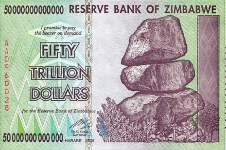 Hiperinflacja to bardzo wysoka inflacja powodowana zwykle przez całkowite załamanie systemu finansowego kraju. Miała miejsce np. w Zimbabwe. Fot. Public Domain