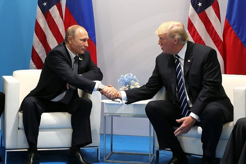 Prezydent Rosji Władimir Putin podczas spotkania z prezydentem USA Donaldem Trumpem.    Fot.: Kremlin.ru/4.0 International/Wikimedia Commons