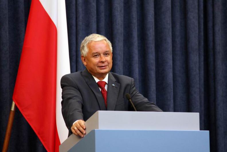 Prezydent RP Lech Kaczyński podczas przemówienia w 2009 r. Fot.: KPRP