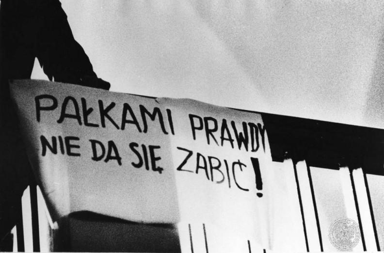 Gdańsk, marzec 68. Hall Politechniki Gdańskiej po wiecu.