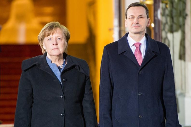 Kanclerz Niemiec Angela Merkel i premier Polski Mateusz Morawiecki podczas spotkania w Warszawie. Fot.: W. Kompała / KPRM