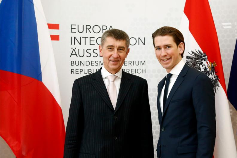 Wiedeń, 13 lutego 2015, ówczesny pierwszy wicepremier i minister finansów Czech, Andrej Babiš (obecny premier Republiki Czeskiej) i ówczesny minister spraw zagranicznych Austrii, Sebastian Kurz (obecnie kanclerz Austrii). / Źródło: Flickr