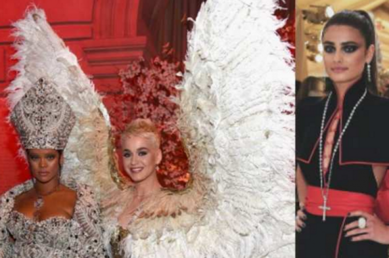 """Rihanna, Kate Perry oraz Taylor Hill w bluźnierczych strojach podczas otwarcia wystawy """"Heavenly Bodies: Fashion and the Catholic Imagination"""". Fot.: Twitter"""