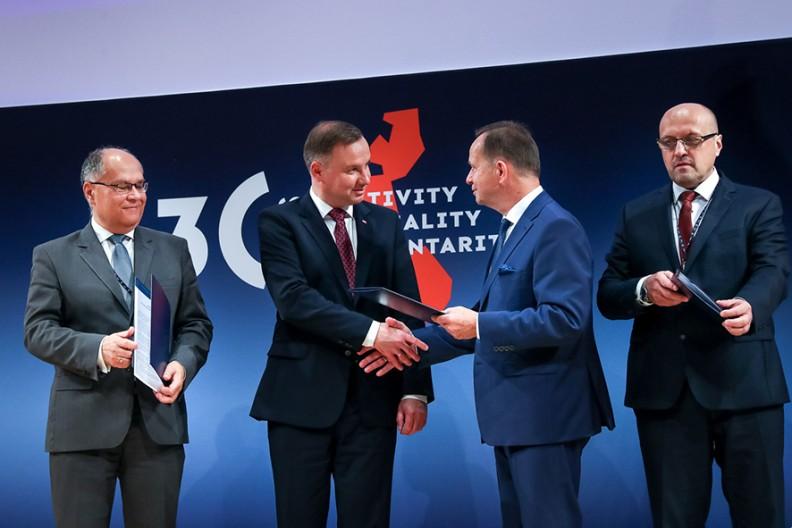 Podpisanie w obecności Prezydenta RP porozumienia o utworzeniu Obserwatorium Regionów Trójmorza. Fot.: Krzysztof Sitkowski / KPRP