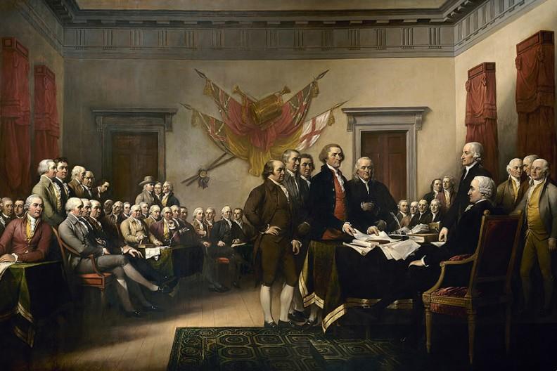 Obraz ilustrujący podpisanie deklaracji niepodległości autorstwa Johna Trumbulla  Fot.: Wikimedia