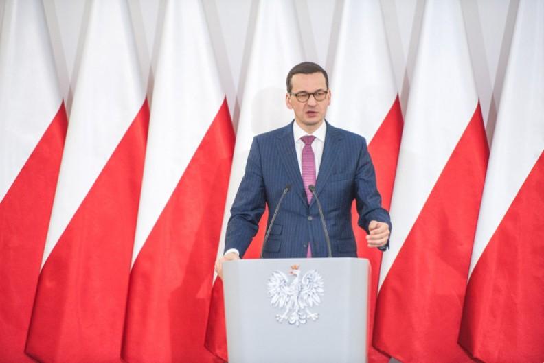 Premier Mateusz Morawiecki podczas przemówienia. Fot.: KPRM