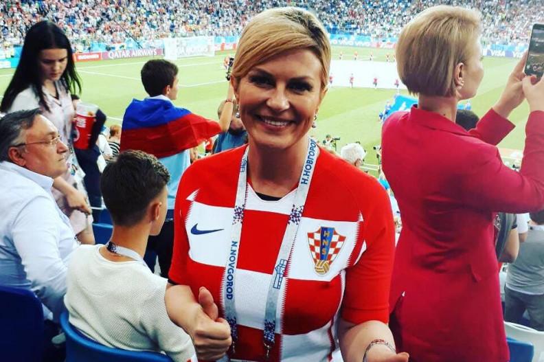 Prezydent Chorwacji Kolinda Grabar-Kitarović na tegorocznym mundialu. Fot.: Facebook Kolindy Grabar-Kitarović