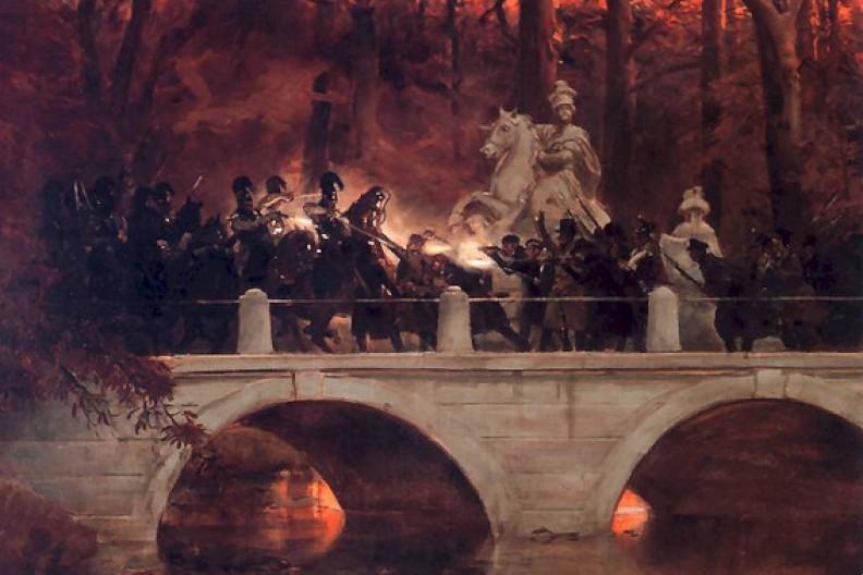 Źródło: Biały Kruk / Starcie belwederczyków z kirasjerami rosyjskimi na moście w Łazienkach