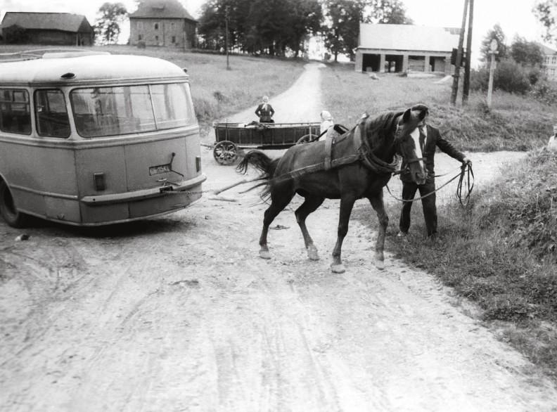 """dzieś w powiecie limanowskim. Prawdziwy koń wszędzie okazywał się skuteczniejszy i bez porównania bardziej niezawodny niż konie mechaniczne, zwłaszcza te umieszczone pod maską PRL-owskiego """"sana""""."""