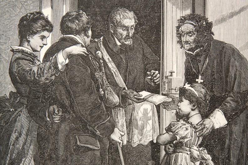 """Pokój temu domowi! – drzeworyt Edwarda Nicza według rysunku Michała Elwiro Andriollego, wycinek z """"Tygodnika Ilustrowanego"""" z 1875 roku, przedstawiający kościelnego wręczającego wiernym opłatki. Przez całe dzieje ludzkości pokój, podobnie jak sprawiedliwość, był (i nadal pozostaje) stałym dążeniem i niedościgłym ideałem."""