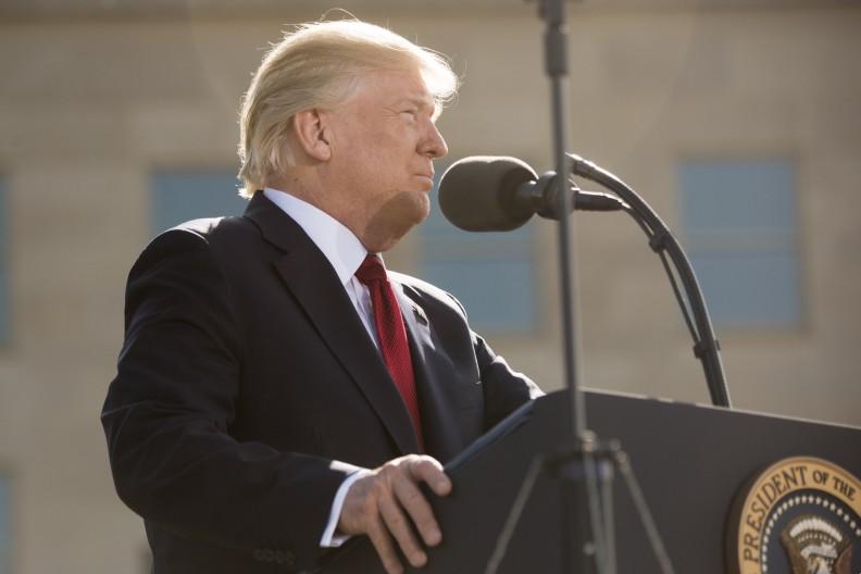 Prezydent Donald Trump podczas wystąpienia.