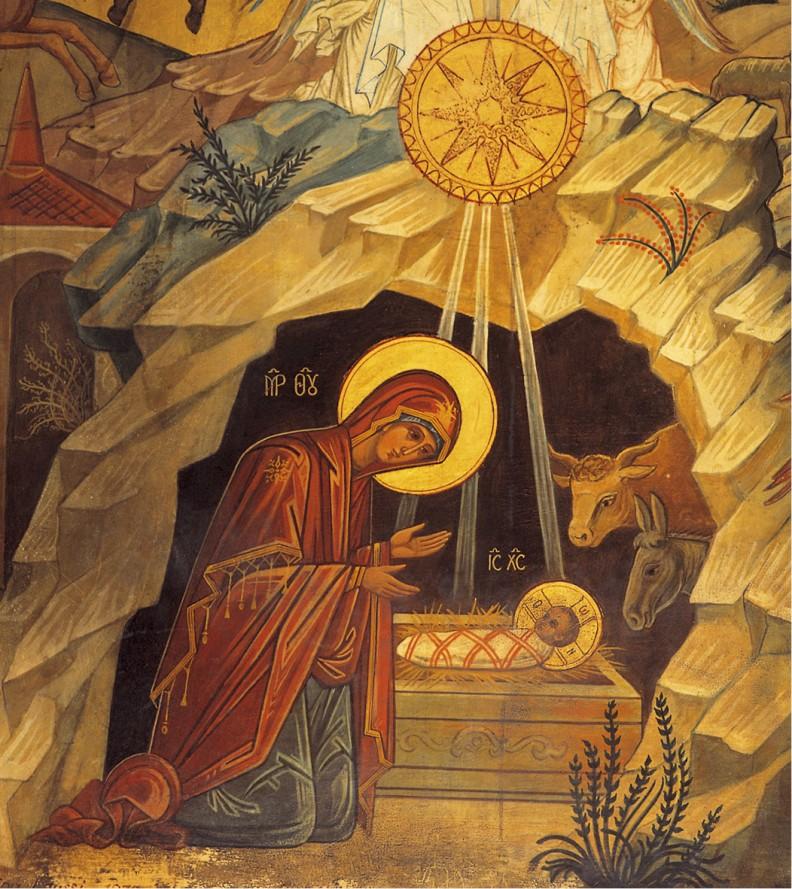 Malowidło zesceną narodzin Jezusa wBazylice Bożego Narodzenia wBetlejem.