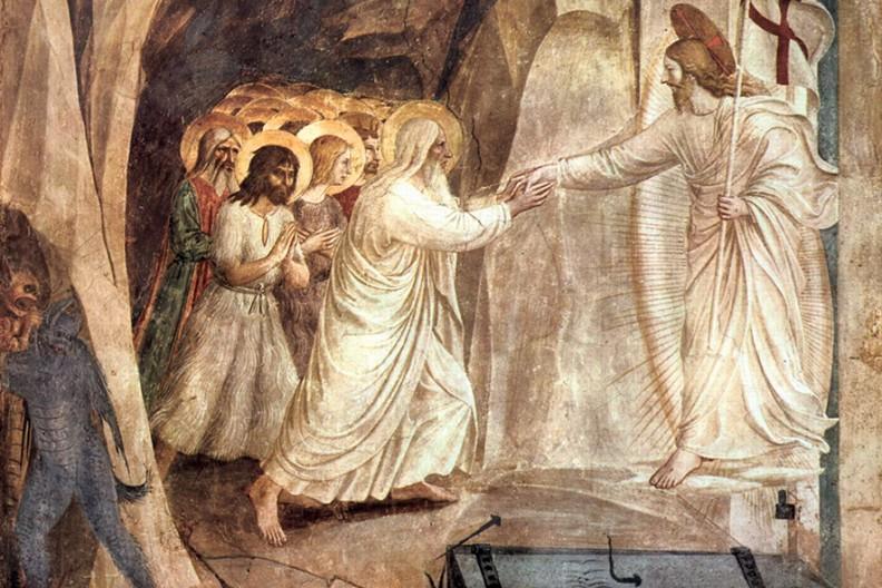 """""""Chrystus w Otchłani"""", fresk Fra Angelico z około 1450 r. we florenckim klasztorze św. Marka."""