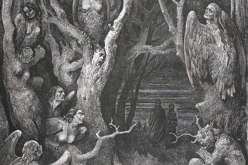"""Powabna panna Unia Europejska dorosła i okazała się drapieżną harpią... Na ilustracji """"Harpie w lesie samobójców"""", ilustracja Gustave'a Doré do """"Boskiej komedii"""" Dantego."""