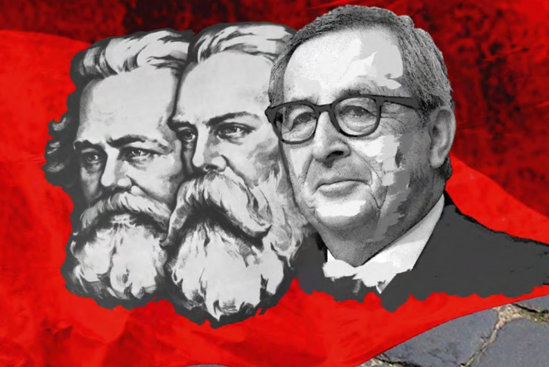 Karl Marx, Friedrich Engels oraz Jean-Claude Juncker. Fragment okładki książki