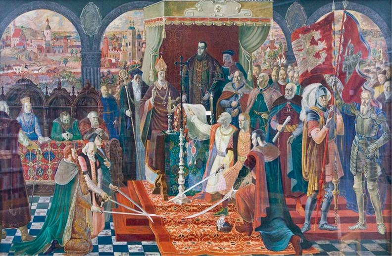 Zaprzysiężenie Unii Lubelskiej. Część cyklu dzieł historycznych namalowanych w 1938 r. przez członków Bractwa św. Łukasza z Kazimierza Dolnego na Wystawę Światową w Nowym Jorku.