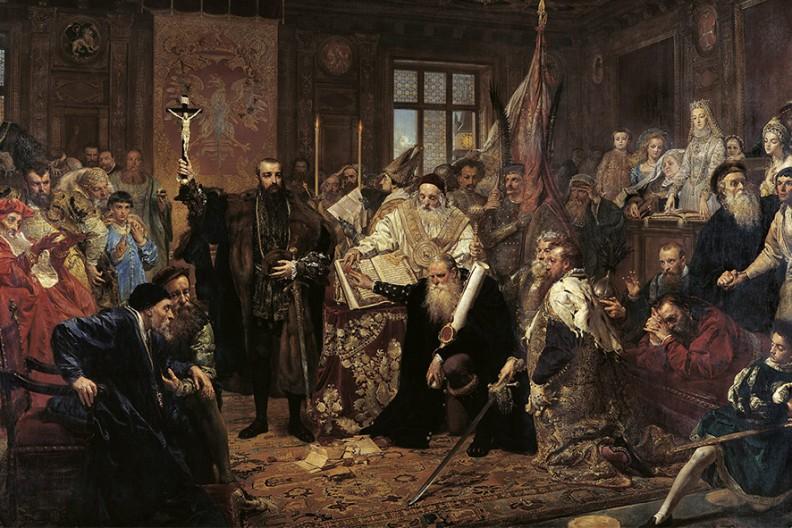 Unia lubelska – obraz olejny namalowany przez Jana Matejkę w 1869.  Fot. MNW