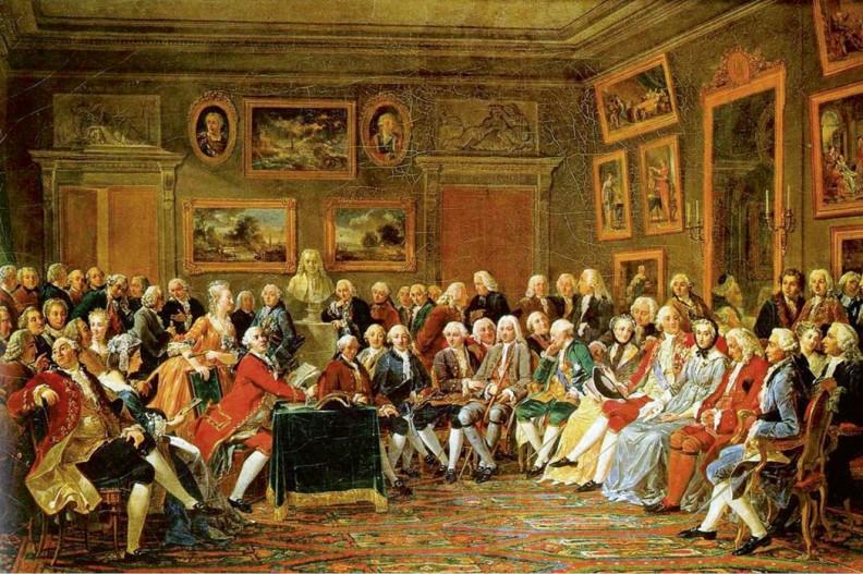 Monteskiusz (pierwszy z prawej, w drugim rzędzie siedzących) w salonie madame Geoffrin, miejscu spotkań elity XVIII-wiecznej Francji. Obraz autorstwa słynnego A.C.G. Lemonniera. Fot. Wikimedia