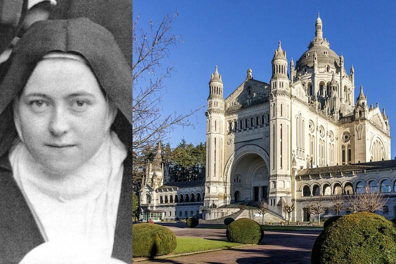 św. Teresa z Lisieux (fot. Wikipedia) i jej sanktuarium (fot. autorstwa © Raimond Spekking / CC BY-SA 4.0 (via Wikimedia Commons), CC BY-SA 4.0, https://commons.wikimedia.org/w/index.php?curid=85817221)