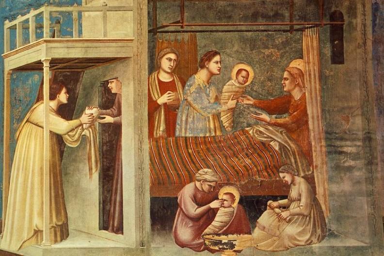 Narodziny Najświętszej Maryi Panny, fresk Giotto di Bondone w kaplicy Scrovegnich w Padwie. Fot. Wikimedia